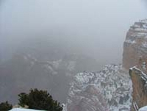 grand canyon in snowstorm