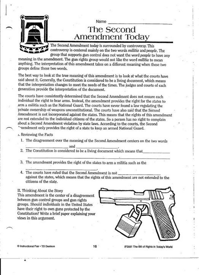 Second Amendment Worksheet
