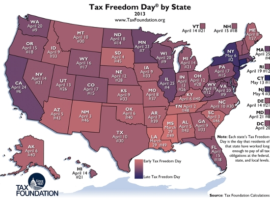 Tax Freedom Day Map 2013