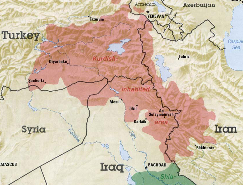 Bit that drops down into syria is where isis is attacking kobani