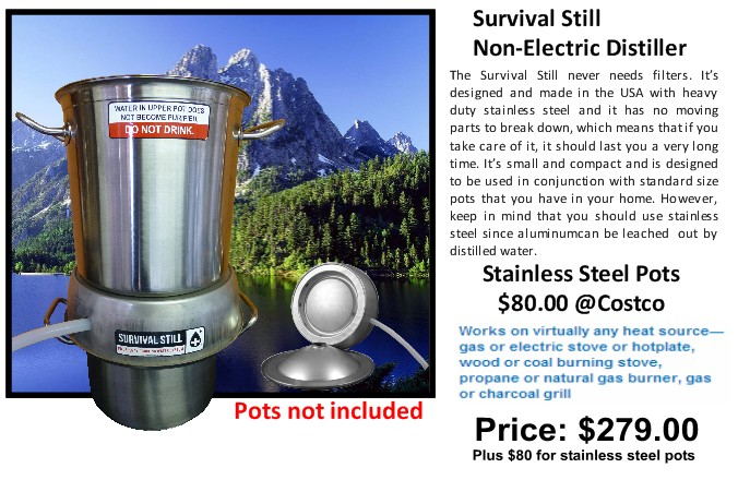 Camping Water Distiller ~ Doomsday investing ammo fuel water