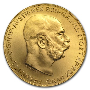 Austrian Gold 100 Coronoa Obverse