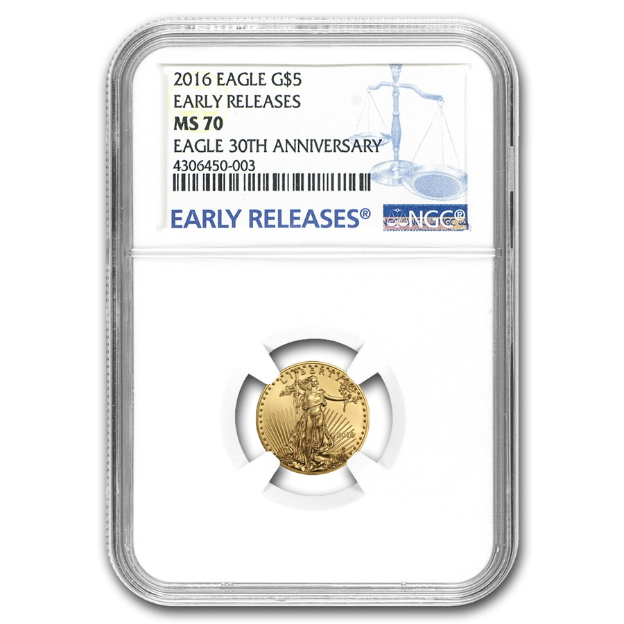 2016 1%2F10 oz Gold American Eagle MS-70 NGC (Early Releases)
