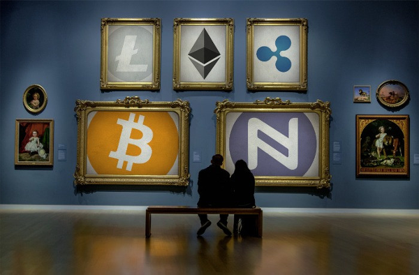 wall of crypto art