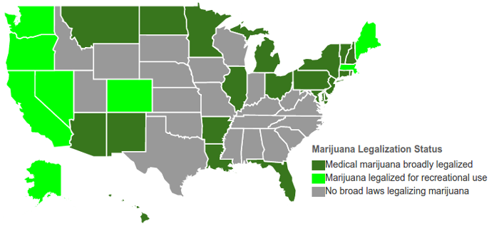 Cannabis Legalized States Map 2017